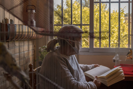 Mujer pasando la cuarentena mientras lee un libro