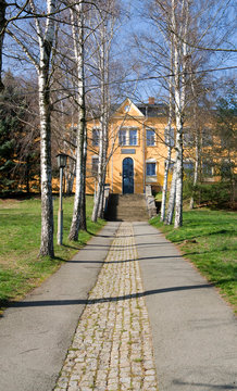 Crimmitschau / Germany: The primary school in Frankenhausen, a district of the small Saxon city, in the March sun