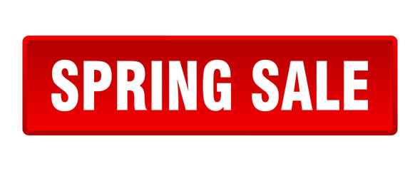 spring sale button. spring sale square red push button