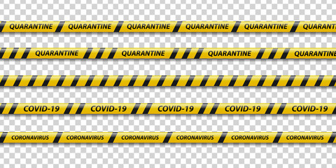 Vector set of realistic isolated quarantine caution tape with yellow and black stripes for decoration on the transparent background. Concept of pandemic precaution.