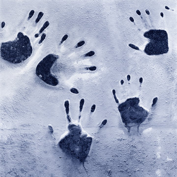 Group of human handprints abstract graphic element. Mystery, crime, identity, community concept.
