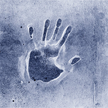 Human handprint abstract graphic element. Mystery, crime, evidence, identity concept.