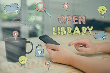 Text sign showing Open Library. Business photo showcasing online access to many public domain and outofprint books