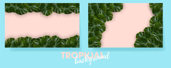 Tropical island. Flower and palm wallpaper. Vector jungle illustration. Exotic tropical jungle rainforest bright green monstera leaves border frame template on pink background.