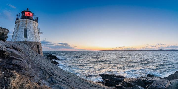 Sunset View of Castle Hill Lighthouse at Newport, Rhode Island
