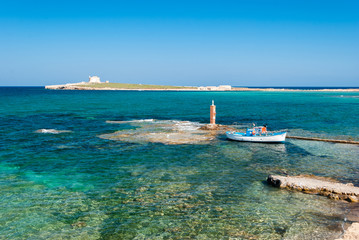 """The island of """"Capo Passero"""" in southern Sicily during the summer"""