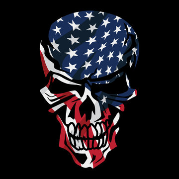 American Flag Skull Isolated Vector Illustration