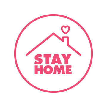 Stay home campaign badge. Design for prevention in quarantine times in pandemic  virus outbreak. #stayhome