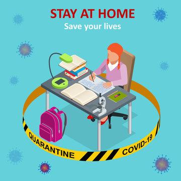 Isometric work from home. Corona virus - staying and working at home. working from home during Covid-19. Self-isolation shield from coronavirus