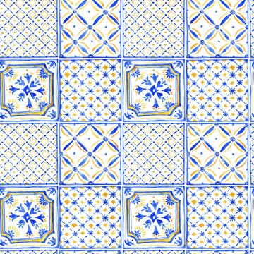 Watercolor blue ornament square seamless pattern