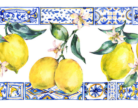 Watercolor lemon ornament seamless border,