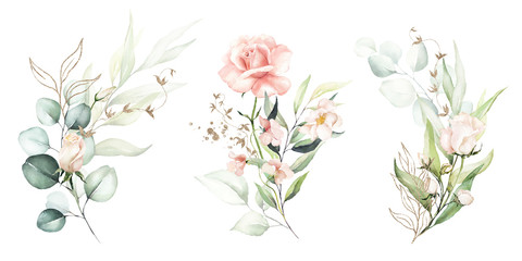 Watercolor floral illustration set - flower and green gold leaf branches bouquets collection, for wedding stationary, greetings, wallpapers, fashion, background. Eucalyptus, olive, green leaves, etc.