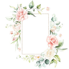 Watercolor floral frame / wreath - flowers, leaves and branches with gold geometric shape, for wedding invites, greetings, wallpapers, fashion, background. Eucalyptus, pink roses, green leaves.