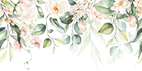 Foto auf AluDibond Künstlich Watercolor seamless border - illustration with bright pink vivid flowers, green leaves, for wedding stationary, greetings, wallpapers, fashion, backgrounds, textures, DIY, wrappers, cards.