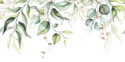 Türaufkleber Künstlich Watercolor seamless border - illustration with green leaves & branches and gold elements, for wedding stationary, greetings, wallpapers, fashion, backgrounds, textures, DIY, wrappers, cards.