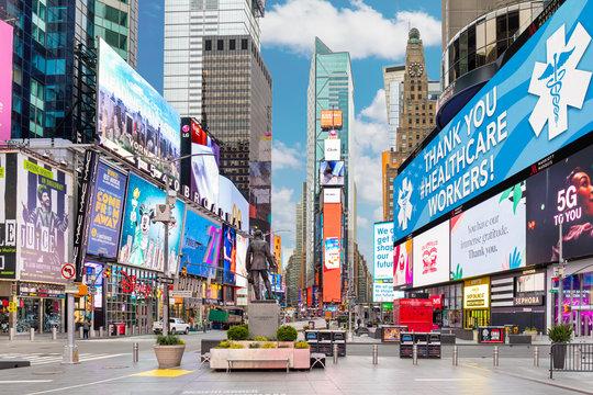 Times Square NYC during Coronavirus pandemic Lockdown