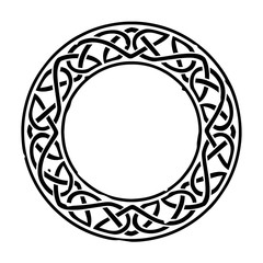 Black Celtic ring with a repeating pattern isolated on white. Can represent the Irish or Scottish culture, druids, Medieval times, a coat of arms, mythology, fantasy and more.
