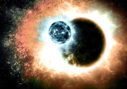 Artistic 3d rendering illustration of two planets collide