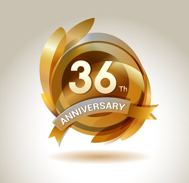 36 years anniversary celebration. Anniversary logo with ring and elegance golden color, for celebration, invitation card, and greeting card