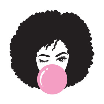 Black woman with afro hair blowing bubble gum vector illustration