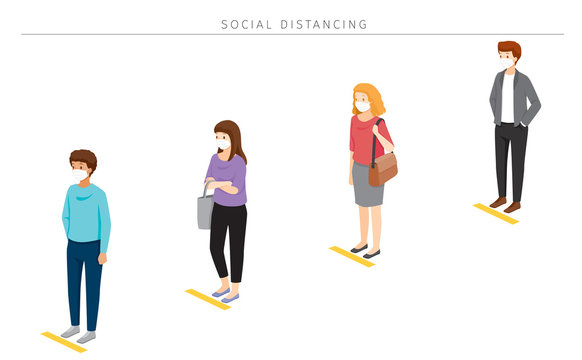Social Distancing Concept, People Wearing Surgical Masks Standing With Distance In Queue, Protection For Coronavirus Disease, Covid-19