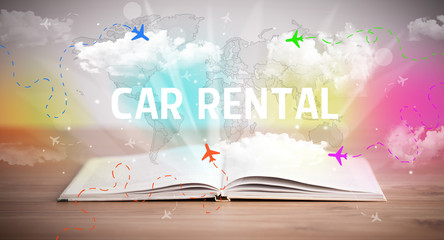 Open book with CAR RENTAL inscription, vacation concept