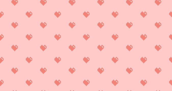 Pink pixel heart on pink background, seamless pattern. Stock illustration for web, print, background and wallpaper, textile, scrapbooking and wrapping paper.