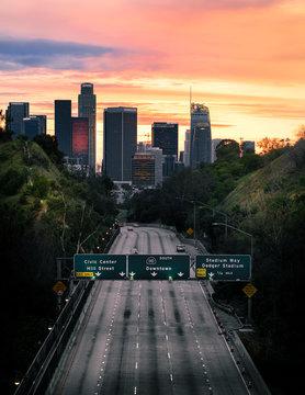 Los Angeles California Freeway With No Traffic