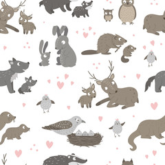 Vector seamless pattern with baby animals and their parents. Funny woodland animal background showing family love. Cute forest animalistic texture for Mother's Day design.