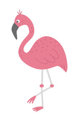Vector cute funny pink flamingo isolated on white background. Funny tropical exotic bird illustration. Bright flat picture for children. Jungle summer clip art.