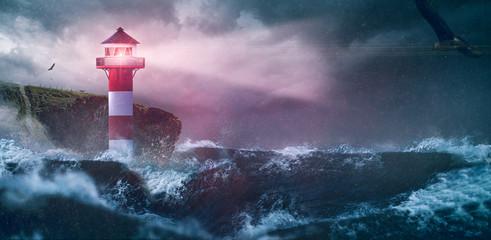 Photo sur cadre textile La Mer du Nord Leuchtturm Meer Sturm