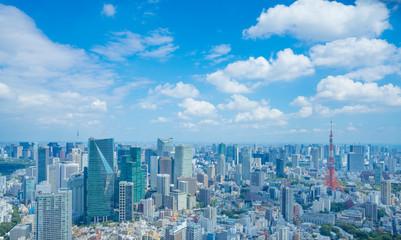 東京風景 タイムラプス 2019年 夏空 東京タワーと東京スカイツリー 入道雲