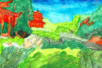 Chinese Garden of Friendship, Hand Drawn Water Color Painting