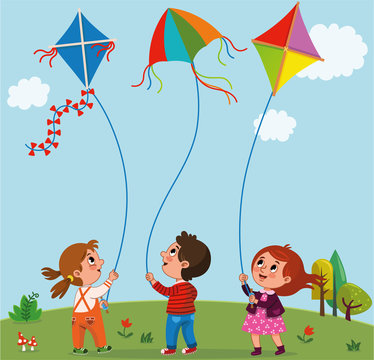 Kids playing kites. Vector illustration of children flying kites on the meadow.