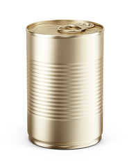 Blank Yellow metal tin can on white background. Mockup template for your design. 3d rendering