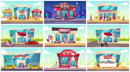 Shop fronts flat color vector illustrations set. Law agency on street near coffeeshop and flower store. Nightlife at bar. Pharmacy exterior. Supermarket front. Modern 2D cartoon cityscape