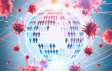 Coronavirus pandemia concept, planet hologram