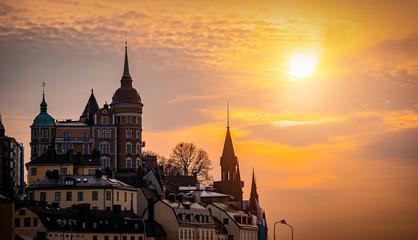 Stockholm city at sunset