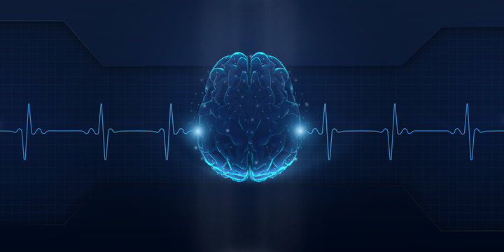 Illustration of invisible screen with brain and heart rate