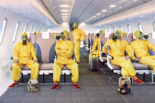the gas mask man in the airplane interior