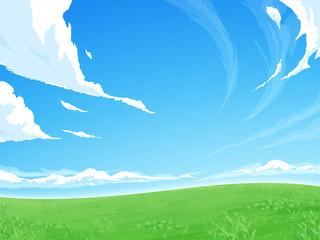 Fototapeta 草原の背景イラスト_空 obraz