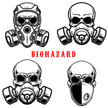 Set of illustration of human skull in gas mask isolated on white background. Biohazard. Coronavirus alert. Design element for poster, card, banner, flyer, emblem, sign. Vector illustration