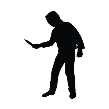 Bandit with knife silhouette vector on white