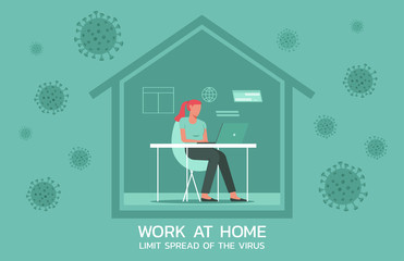 woman at working at home on laptops computers, online working to limit spread of the coronavirus and new normal concept, vector flat illustration Wall mural