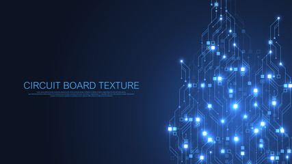 Technology abstract circuit board texture background. High-tech futuristic circuit board banner wallpaper. Digital data. Engineering electronic motherboard. Minimal array Big Data Vector illustration Fotoväggar