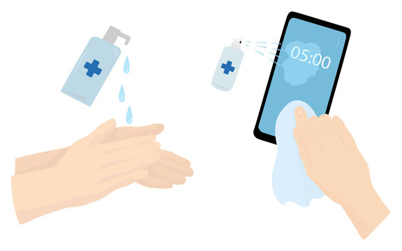 Using sanitizer for hands and phone. Coronavirus disease prevention measures. Vector flat illustration isolated on a white background.