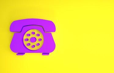 Fototapeta Purple Telephone icon isolated on yellow background. Landline phone. Minimalism concept. 3d illustration 3D render