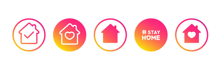 Social media set in support of self-isolation and staying at home. Distancing measures to prevent virus spread. Covid19 signs. Stay home. Isolated icon set on white background perfect for posts, news. Fototapete