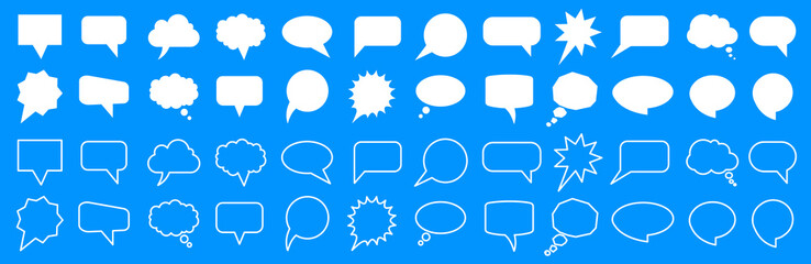 Fototapeta Set different empty speech discussion bubble, chat sign - for stock obraz