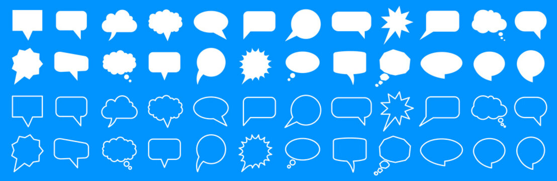 Set different empty speech discussion bubble, chat sign - for stock